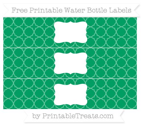 Free Shamrock Green Quatrefoil Pattern Water Bottle Labels