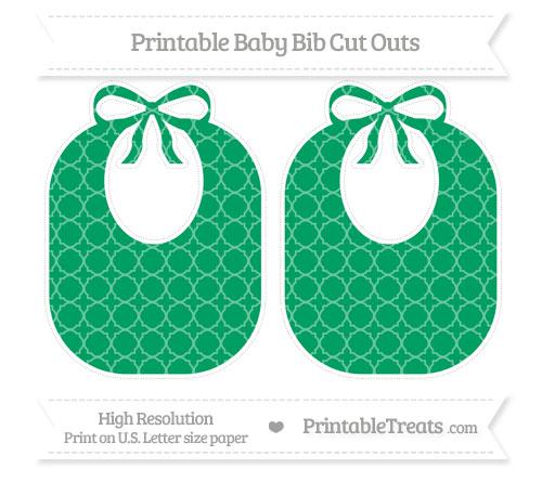 Free Shamrock Green Quatrefoil Pattern Large Baby Bib Cut Outs