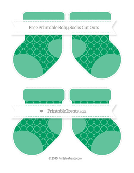 Free Shamrock Green Quatrefoil Pattern Medium Baby Socks Cut Outs