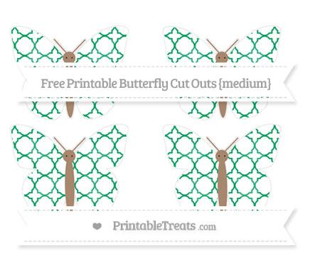 Free Shamrock Green Quatrefoil Pattern Medium Butterfly Cut Outs