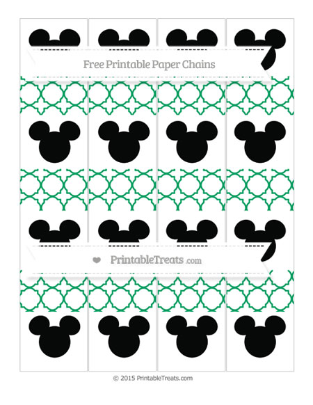 Free Shamrock Green Quatrefoil Pattern Mickey Mouse Paper Chains