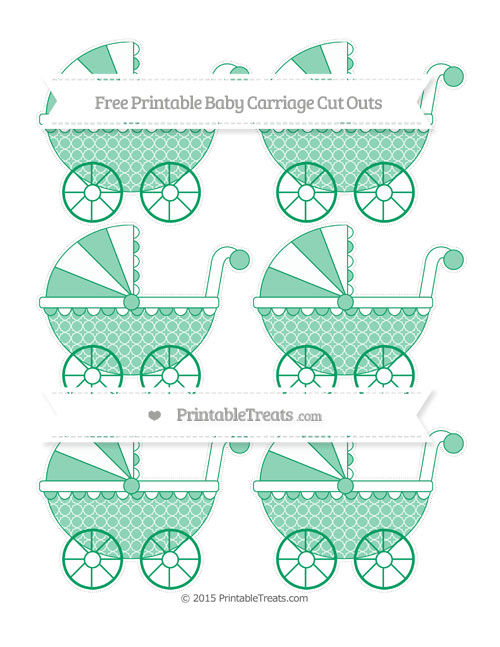 Free Shamrock Green Quatrefoil Pattern Small Baby Carriage Cut Outs
