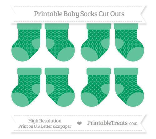 Free Shamrock Green Quatrefoil Pattern Small Baby Socks Cut Outs