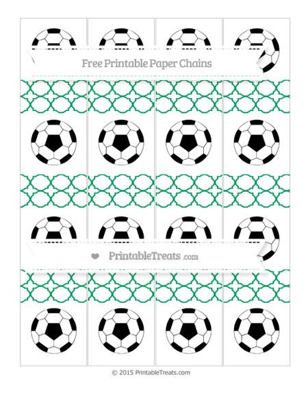 Free Shamrock Green Quatrefoil Pattern Soccer Paper Chains