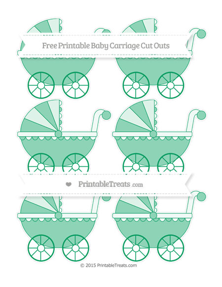 Free Shamrock Green Small Baby Carriage Cut Outs
