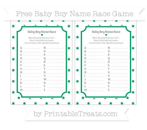 Free Shamrock Green Star Pattern Baby Boy Name Race Game