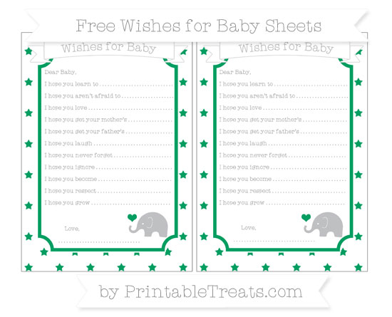 Free Shamrock Green Star Pattern Baby Elephant Wishes for Baby Sheets