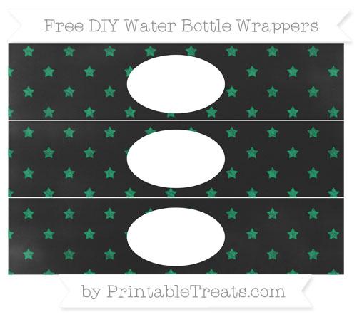 Free Shamrock Green Star Pattern Chalk Style DIY Water Bottle Wrappers