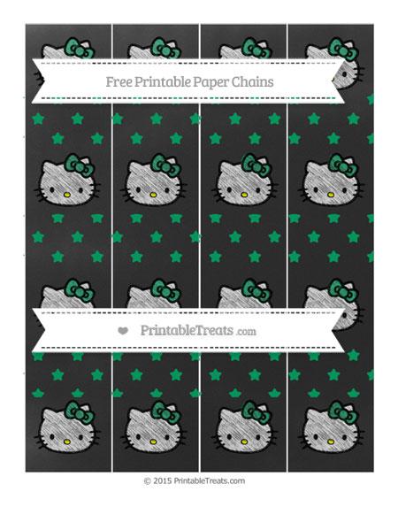 Free Shamrock Green Star Pattern Chalk Style Hello Kitty Paper Chains