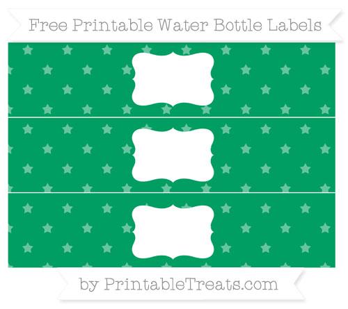 Free Shamrock Green Star Pattern Water Bottle Labels