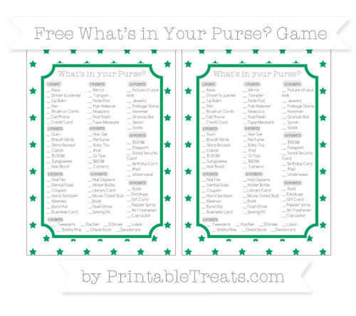 Free Shamrock Green Star Pattern What's in Your Purse Baby Shower Game