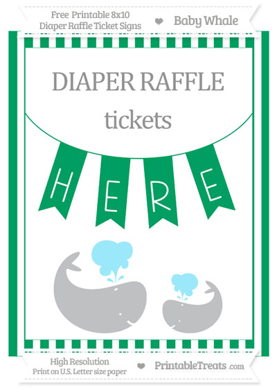 Free Shamrock Green Striped Baby Whale 8x10 Diaper Raffle Ticket Sign
