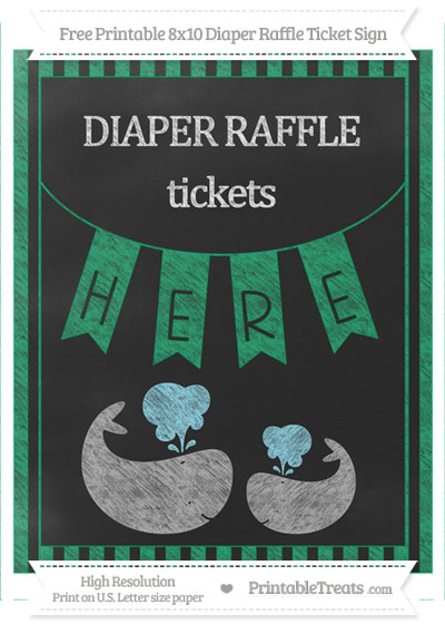 Free Shamrock Green Striped Chalk Style Baby Whale 8x10 Diaper Raffle Ticket Sign
