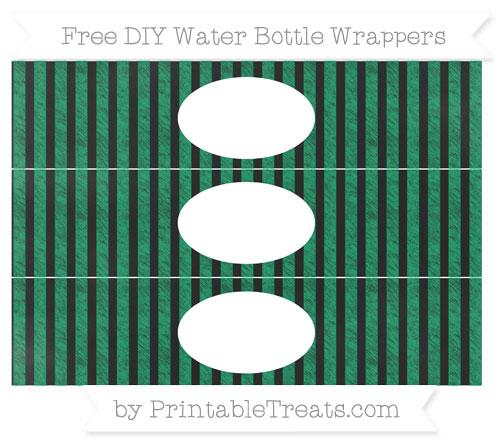 Free Shamrock Green Striped Chalk Style DIY Water Bottle Wrappers