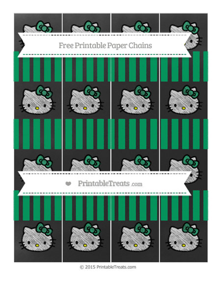 Free Shamrock Green Striped Chalk Style Hello Kitty Paper Chains