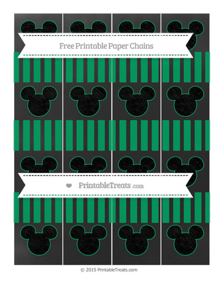 Free Shamrock Green Striped Chalk Style Mickey Mouse Paper Chains