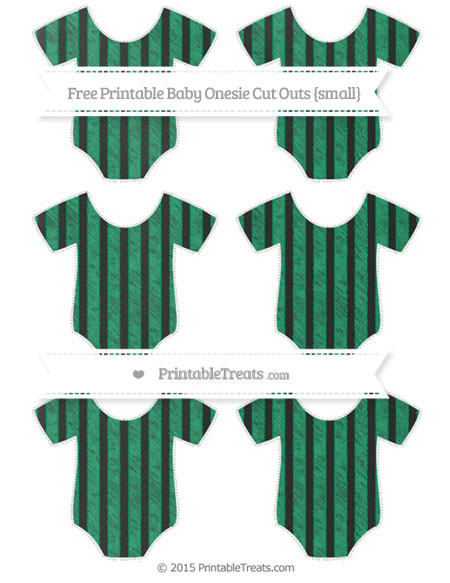 Free Shamrock Green Striped Chalk Style Small Baby Onesie Cut Outs