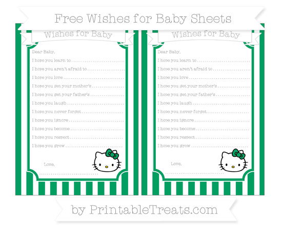 Free Shamrock Green Striped Hello Kitty Wishes for Baby Sheets