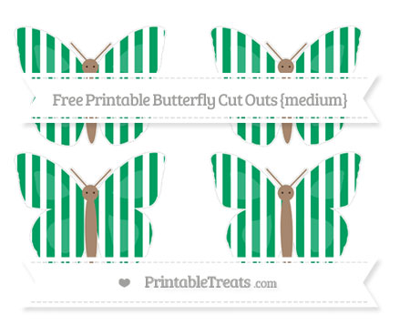 Free Shamrock Green Striped Medium Butterfly Cut Outs