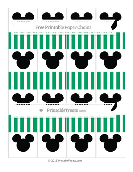 Free Shamrock Green Striped Mickey Mouse Paper Chains
