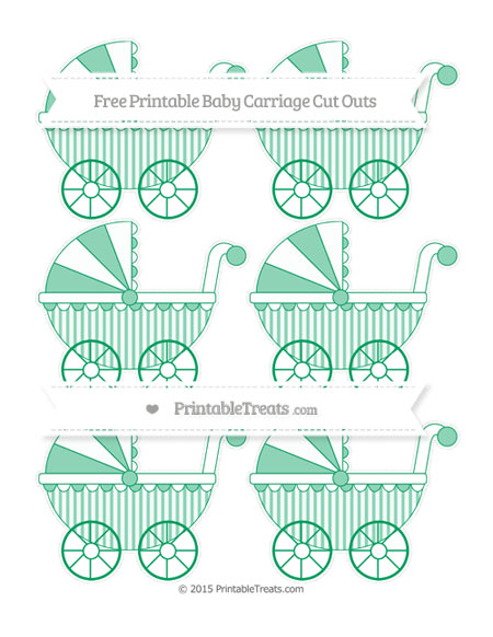 Free Shamrock Green Striped Small Baby Carriage Cut Outs