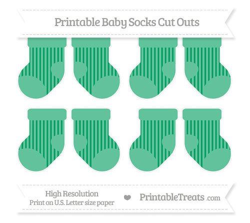 Free Shamrock Green Striped Small Baby Socks Cut Outs