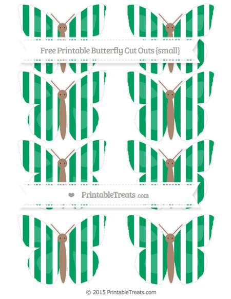 Free Shamrock Green Striped Small Butterfly Cut Outs