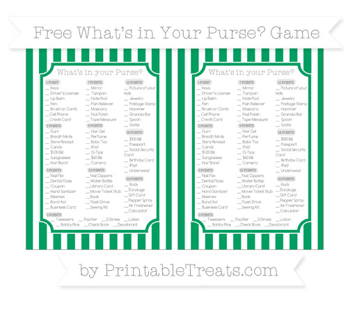 Free Shamrock Green Striped What's in Your Purse Baby Shower Game