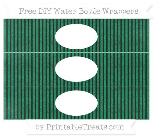 Free Shamrock Green Thin Striped Pattern Chalk Style DIY Water Bottle Wrappers