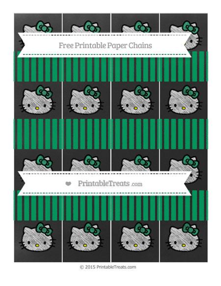 Free Shamrock Green Thin Striped Pattern Chalk Style Hello Kitty Paper Chains