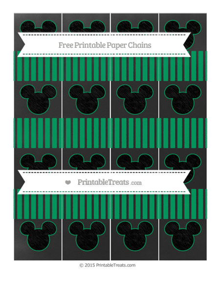 Free Shamrock Green Thin Striped Pattern Chalk Style Mickey Mouse Paper Chains