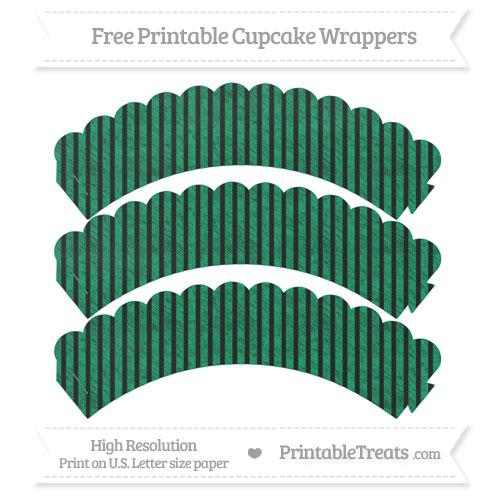 Free Shamrock Green Thin Striped Pattern Chalk Style Scalloped Cupcake Wrappers