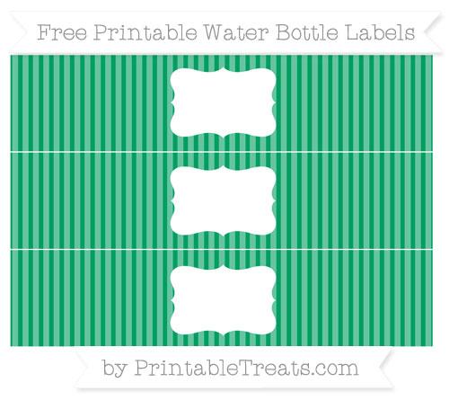 Free Shamrock Green Thin Striped Pattern Water Bottle Labels