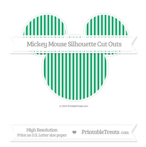 Free Shamrock Green Thin Striped Pattern Extra Large Mickey Mouse Silhouette Cut Outs