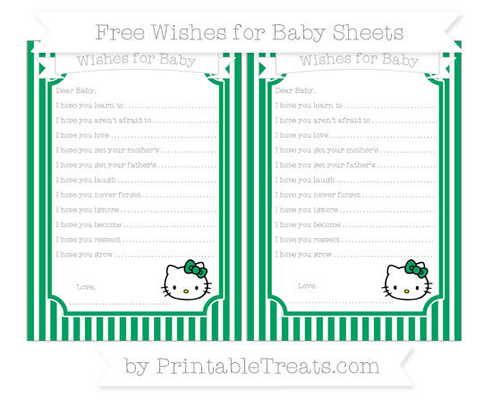 Free Shamrock Green Thin Striped Pattern Hello Kitty Wishes for Baby Sheets