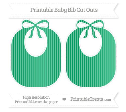 Free Shamrock Green Thin Striped Pattern Large Baby Bib Cut Outs