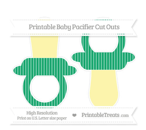 Free Shamrock Green Thin Striped Pattern Large Baby Pacifier Cut Outs