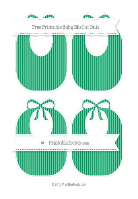 Free Shamrock Green Thin Striped Pattern Medium Baby Bib Cut Outs