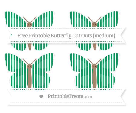 Free Shamrock Green Thin Striped Pattern Medium Butterfly Cut Outs