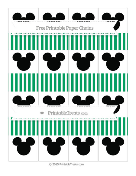Free Shamrock Green Thin Striped Pattern Mickey Mouse Paper Chains