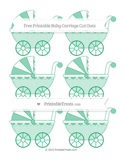 Free Shamrock Green Thin Striped Pattern Small Baby Carriage Cut Outs