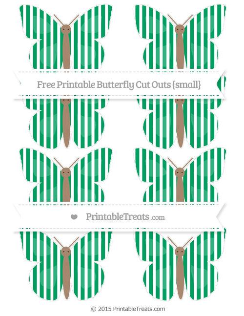 Free Shamrock Green Thin Striped Pattern Small Butterfly Cut Outs