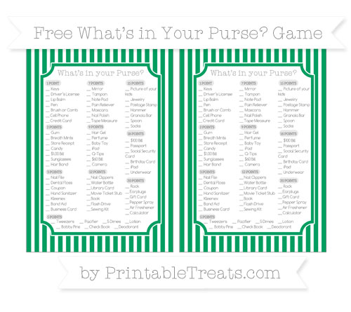 Free Shamrock Green Thin Striped Pattern What's in Your Purse Baby Shower Game
