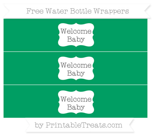 Free Shamrock Green Welcome Baby Water Bottle Wrappers