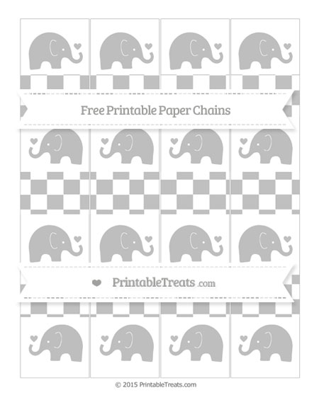 Free Silver Checker Pattern Baby Elephant Paper Chains