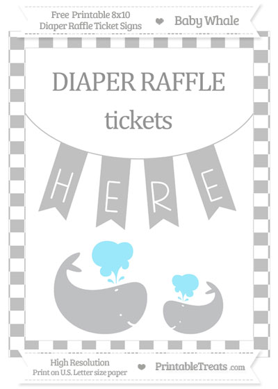 Free Silver Checker Pattern Baby Whale 8x10 Diaper Raffle Ticket Sign