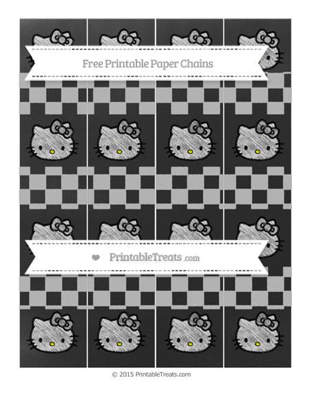 Free Silver Checker Pattern Chalk Style Hello Kitty Paper Chains