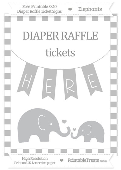 Free Silver Checker Pattern Elephant 8x10 Diaper Raffle Ticket Sign