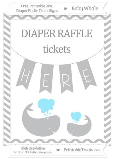 Free Silver Chevron Baby Whale 8x10 Diaper Raffle Ticket Sign