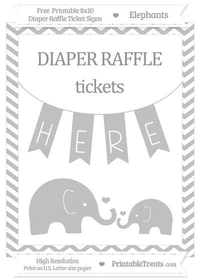 Free Silver Chevron Elephant 8x10 Diaper Raffle Ticket Sign